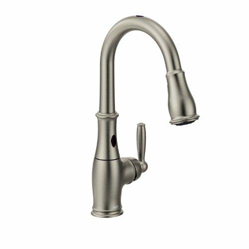 Moen 7185ESRS Brantford One-Handle High-Arc Pulldown Kitchen Faucet Featuring Reflex and MotionSense, Spot Resist Stainless
