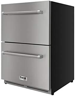 """Thor Kitchen 24"""" Indoor and Outdoor Double Drawer Under-Counter Built-in Fridge Refrigerator in Stainless Steel 5.3cu.ft (Not a Freezer)"""