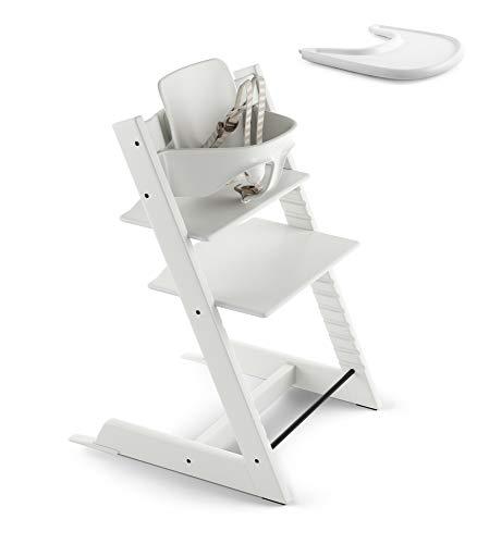Stokke 2019 Tripp Trapp White High Chair & White Tray Bundle