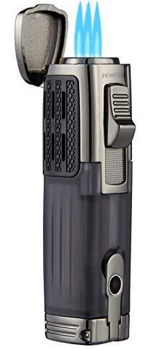 TOMOLO Torch Lighter Triple Jet Flame Refillable Butane Cigar Lighter (4 Packs) with Cigar Punch