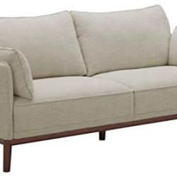 Amazon Brand – Stone & Beam Hillman Mid-Century Sofa Couch with Wood Base and Legs, 78″W, Ivory