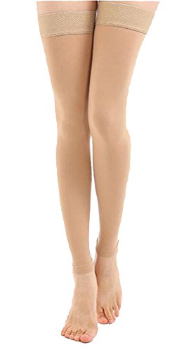 TOFLY Maternity Thigh High Overnight Footless Compression Stockings, Slim Leggings for Women - 1280D Grade Pregnancy Sleeves 20-30mmHg, Beige M