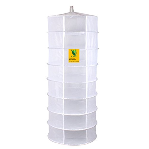 G-Leaf 2-Ft 8-Layer Collapsible Dry Net White Mesh Herb Drying Net Hanging Drying Rack For Herbs
