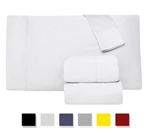 1000 Thread Count 100% Long Staple Egyptian Pure Cotton - Sateen Weave, Set of 2 Queen Silky Soft & Smooth White Pillow Cases
