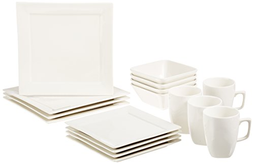 AmazonBasics 16-Piece Classic White Kitchen Dinnerware Set, Square Plates, Bowls, Service for 4