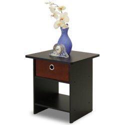 FURINNO Dario End Table/Night Stand Storage Shelf, 1-Pack, Espresso/Brown