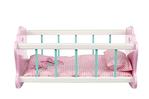 Toysters Wooden Baby Doll Rocking Cradle | Crib Includes Accessories - Matching Mattress and Pillow | Adorable Pink Bed Sized for Dolls Up to 20 Inches Tall | AT250
