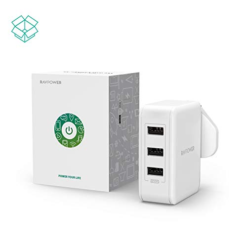 31btJap8X9L - USB Plug Charger, RAVPower 30W Wall Chargers 6A 3-Port Mains Adapter Plug Power Adapters with iSmart 2.0 for iPhone 11 Pro XR XS Max, Galaxy, iPad and More – White