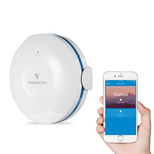 Smart Wi-Fi Water Sensor, Flood and Leak Detector – Alarm and App Notification Alerts, No Expensive Hub Required, Simple Plug & Play by Wasserstein (1 Pack)