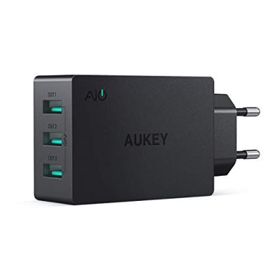 AUKEY Caricatore da Muro con 3 Porte 30W 6A Caricatore USB con AiPower per iPhone XS / XS Max / XR, iPad Air/Pro, Samsung, HTC, LG, Nexus, Tablet ecc.