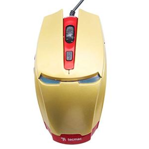 Iron Man Design USB Wired Gaming Mouse (Gold)