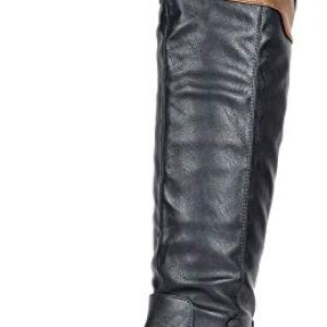 DREAM PAIRS Women's Supra Black Camel Over The Knee Motorcycle Riding Boots Size 7.5 M US