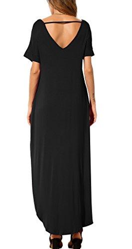 GRECERELLE Ladies's Informal Free Pocket Lengthy Costume Brief Sleeve Cut up Maxi Costume Black S deal 50% off 31d1vZ6bMVL
