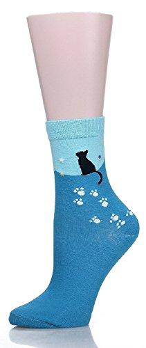 Meta-U-Cute-Cat-Design-Womens-Casual-Comfortable-Cotton-Crew-Socks-5-Pack
