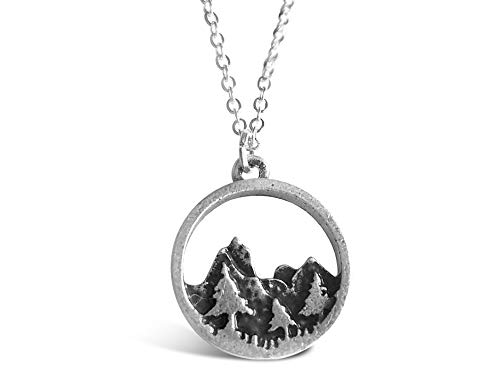 Rosa Vila Forest Necklace, Pine Tree and Mountain Jewelry for Women, Outdoor Enthusiast Gifts, for Birthdays, Holidays, and More, Mountains Necklace for Women with 19' Chain