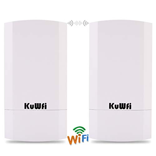 KuWFi 2-Pack 300Mbps Wireless Outdoor CPE Kit Point-to-Point Wireless Access Point 2.4G WiFi Bridge Supports 1KM Transmission Distance Solution for PTP/PTMP (Pre-Program)