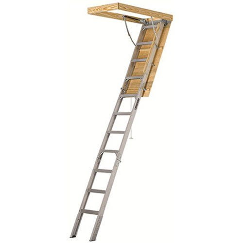 Louisville Ladder 25-1/2 by 54-Inch Elite Aluminum Attic Ladder, 7-10-Foot Ceiling Height, 375-Pound Capacity, Type IAA, AA2510