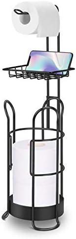 LEHOM Toilet Paper Roll Holder Stand, Upgraded Free Standing Bathroom Toilet Paper Tissue Holders Dispenser with Shelf and Storage for 3 Mega Rolls, Matte Black