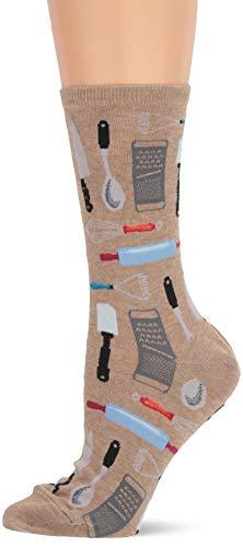 Hot Sox Women's Novelty Occupation Casual Crew Socks, Kitchen Utensils (hemp Heather), Shoe Size: 4-10 Size: 9-11