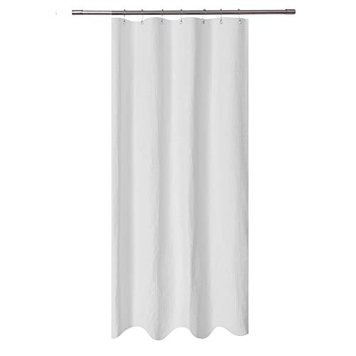 Stall Shower Curtain Fabric 36 x 72 inch - Waffle Weave, Spa, Hotel Collection, Heavy Duty, Water Repellent, White - Pique Pattern for Decorative Bathroom Curtains (230 GSM)