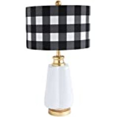 Creative Co-Op DA9105 White & Gold Ceramic Lamp with Checked Linen Shade
