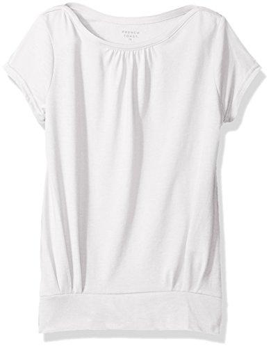 French Toast Little Girls' Short Sleeve Banded Bottom Crewneck Tee, White, 6