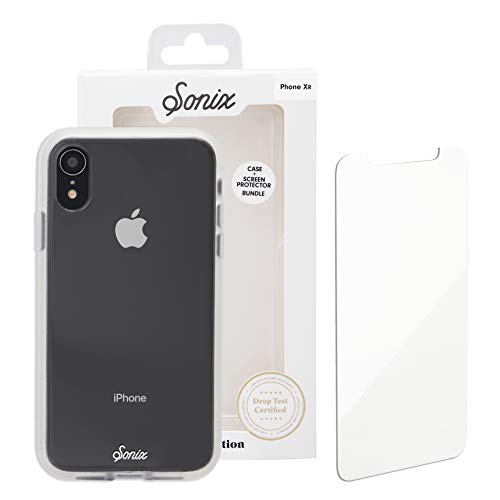 iPhone XR, Sonix Clear Cell Phone Case and Tempered Glass Screen Protector [Military Drop Test Certified] Clear Case and Screen Protector Bundle Pack for Apple (6.1') iPhone XR