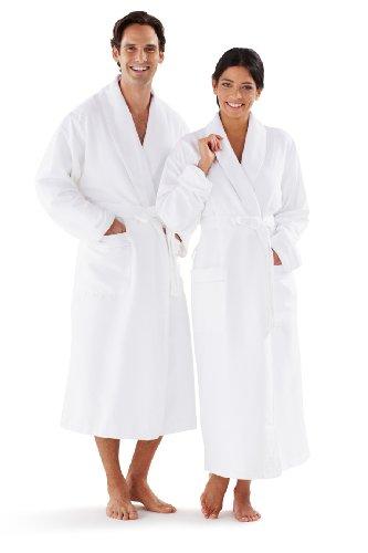 Boca Terry Women's and Men's Robe, Luxury Microfiber White Bathrobe, One Size Fits All