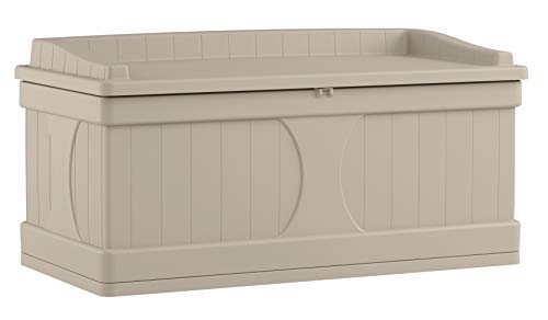 Suncast 99 Gallon Patio Storage Box - Large Water Resistant Outdoor Storage Container for...