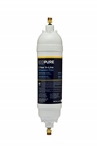 EcoPure EPINL20 EPINL30 5 Year in-Line Refrigerator Filter-Universal Includes Both 1/4' Compression and Push to Connect Fittings