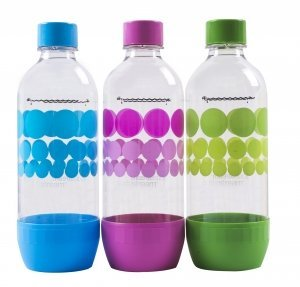 Original Sodastream Carbonating Bottle Three Pack ( blue, pink, green ) 1 Liter / 3.38oz Lasts Up To 3 Years - New Design Launched 2017