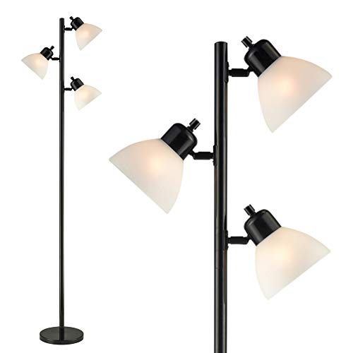 Light Accents 3 Light Floor Lamp - Tree Style Standing Lamp with Adjustable Lights - Floor Standing Pole Light - Tall Lamp Torchiere - Living Room Lamp Black Finish
