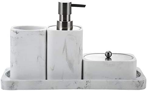 Bathroom Accessory Set, 4 Pieces, Decorative Soap Dispenser, Toothbrush Cup Holder/Tumbler, Q-Tip Dish, and Vanity Tray, Marble White, Stain and Odor Resistant