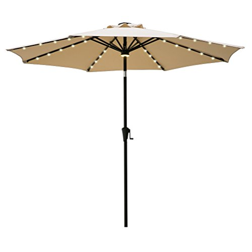 FLAME&SHADE 9' LED Light Patio Umbrella Outdoor Market Style with Solar Lights and Tilt for Outside Balcony Table or Deck, Beige