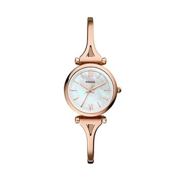 Fossil Women Mini Carlie Quartz Stainless Steel and Stainless Casual Watch Color: Rose Gold, Rose Gold (Model: ES4500)