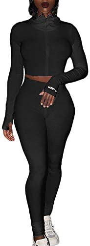 Adogirl Womens Fall Rib-Knit Pullover Sweater Top & Long Pants Set 2 Piece Outfits Tracksuit 2