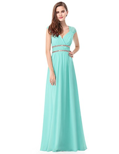 "31funmrJT9L Detailed size info please check OUR SIZE CHART among main product images, NOT size info link. It is US size when you place order. Women's elegant V-necklong evening dress Padded enough for """"no bra"""" option."