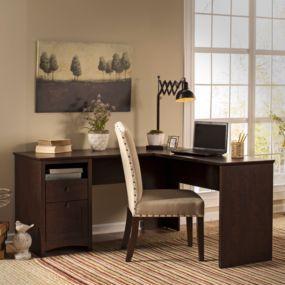 """Bush Furniture Buena Vista 60"""" L-Desk in Madison Cherry"""