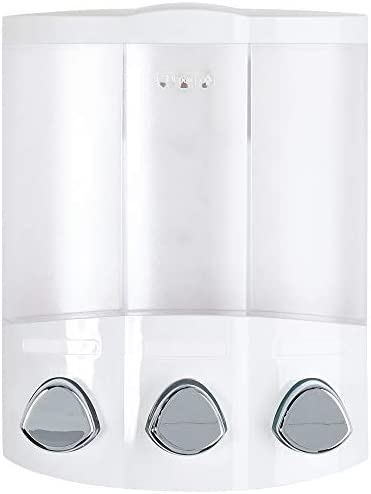 Better Living Products, White 76354 Euro Series TRIO 3-Chamber Soap and Shower Dispenser