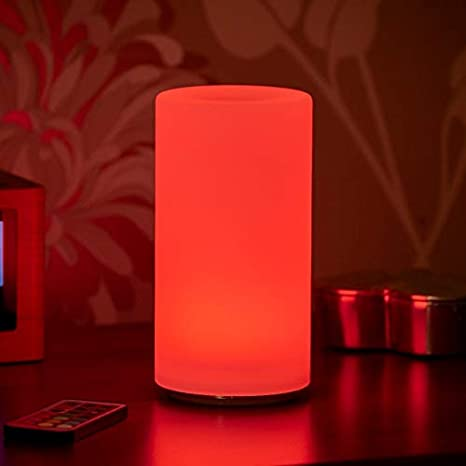 Auraglow Lampada Da Tavolo Led Ricaricabile Senza Fili Wireless Che Cambia Colore A Luce Bianca Pillar