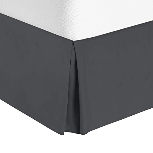 "Nestl Bedding Pleated Bed Skirt - Luxury Microfiber Dust Ruffle, 14"" Tailored Drop, King, Gray"