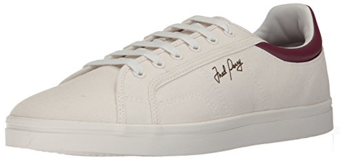 Casual canvas sneaker in low-profile design featuring contrasting rear collar with signature wreath embroidery Fred Perry logo at side Wraparound midsole