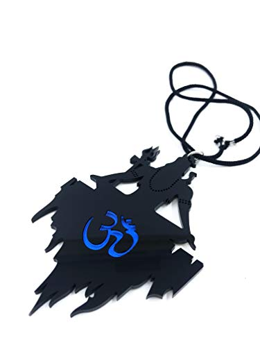 31gaYBCIdcL Clean & Clever Car Logo Lord Shiva on Kailash Parbat with Om (Blue) Hanging Emblem Ornament Decor Accessories for Rear View Mirror