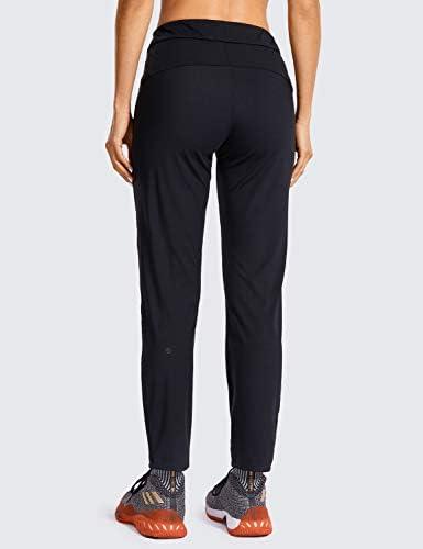 CRZ YOGA Women's Stretch Lounge Sweatpants Travel Ankle Drawstring 7/8 Athletic Track Yoga Dress Pants 3