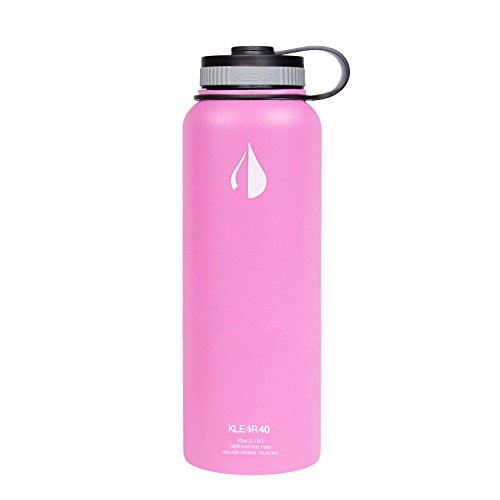 Klear Bottle - 40 Oz Insulated Stainless Steel Water Bottle - Double Wall Vacuum Sealed (Pink)