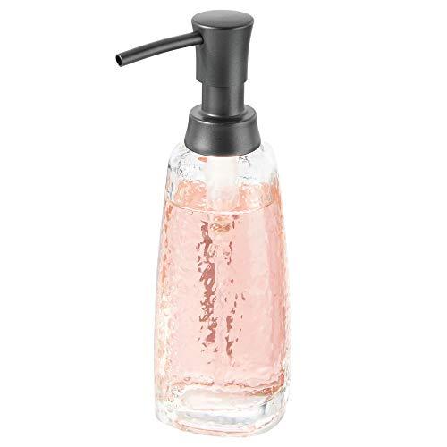 ffa3e85abdb1 mDesign Modern Glass Refillable Liquid Soap Dispenser Pump Bottle for  Bathroom Vanity Countertop, Kitchen Sink - Holds Hand Soap, Dish Soap, Hand  ...