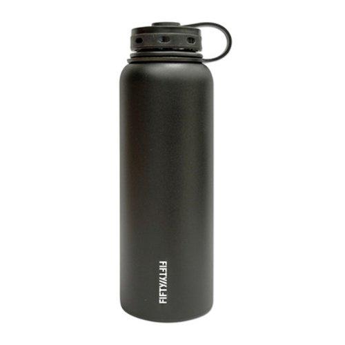 Lifeline 7502BK Black Stainless Steel Wide Mouth Water Bottle - 40 oz. Capacity