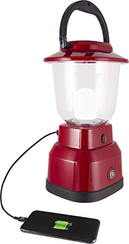 GE Enbrighten LED Lantern, Battery Operated, USB Charging, Red Finish, 800 Lumens, 200 Hour Runtime, 3 Light Levels, Ideal for Outdoors, Camping, Hurricane, Storm, Tornado & Emergency, 29923