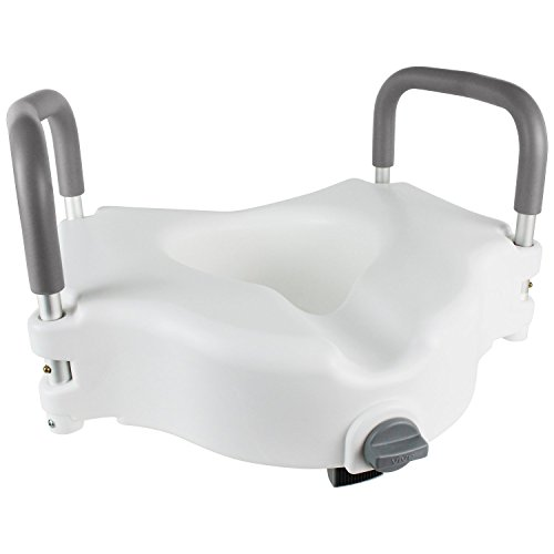 Raised Toilet Seat by Vive - Portable Elevated Riser with Padded Handles - Toilet Seat Lifter for Bathroom Safety - Assists Disabled, Elderly or Handicapped