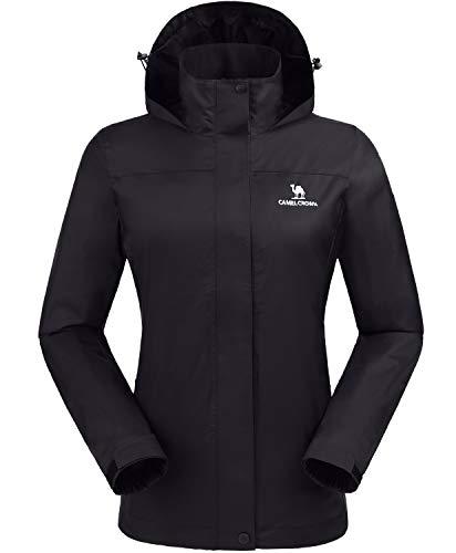 CAMEL CROWN Womens Waterproof Rain Jacket Lightweight Hooded Windbreaker Windproof Rain Coat Shell for Outdoor Hiking Traveling Black S